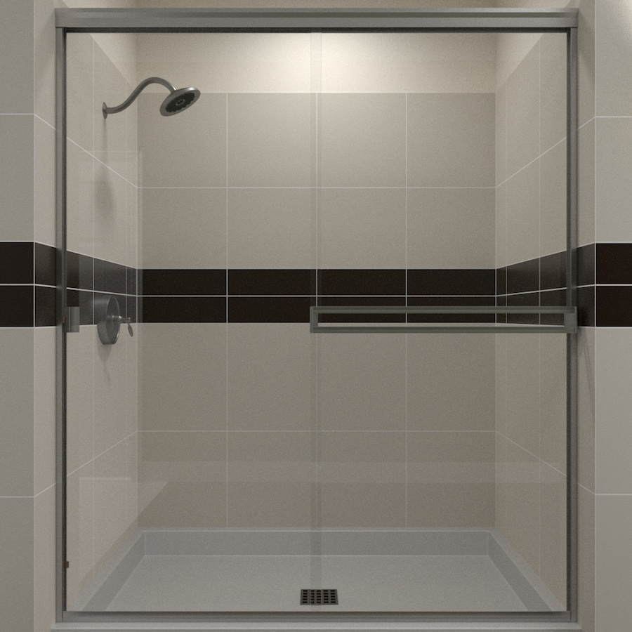 Arizona Shower Door Traditional 52-in to 56-in W Frameless Brushed Nickel Sliding Shower Door