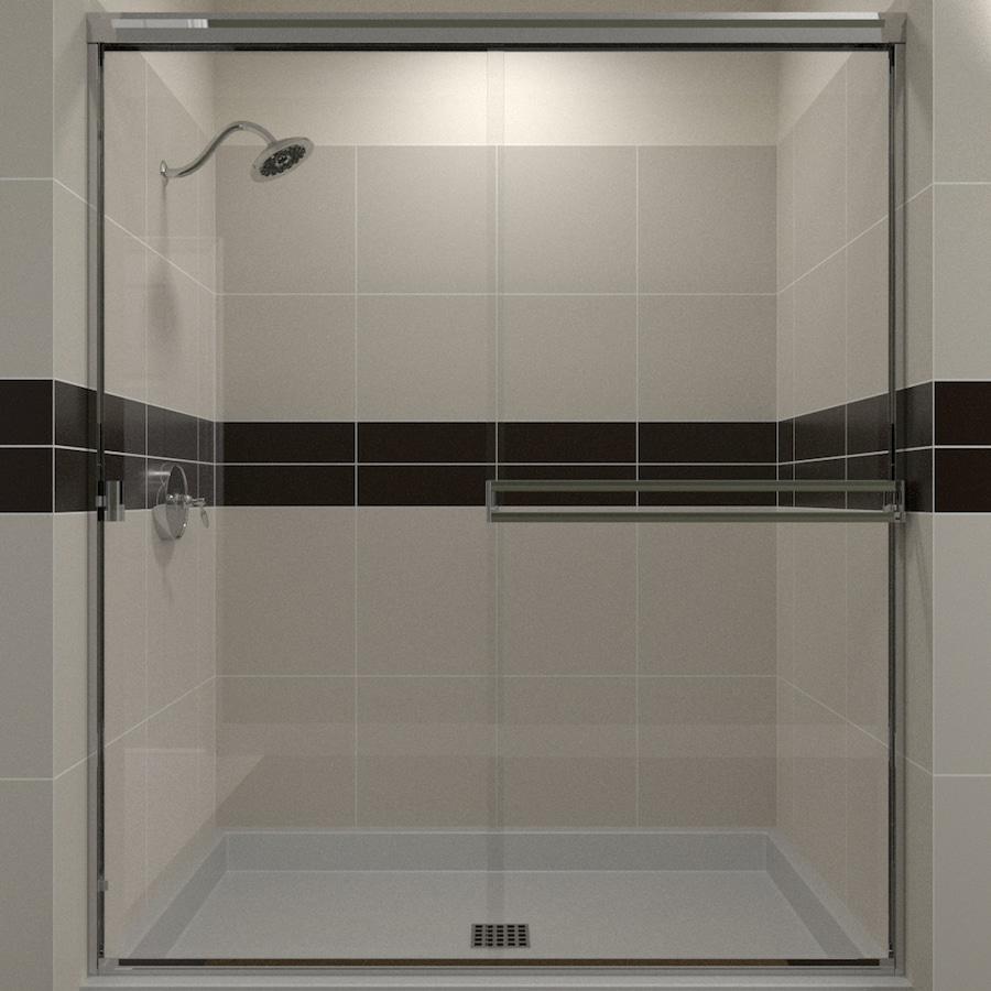 Arizona Shower Door Traditional 52-in to 56-in W Semi-frameless Chrome Sliding Shower Door