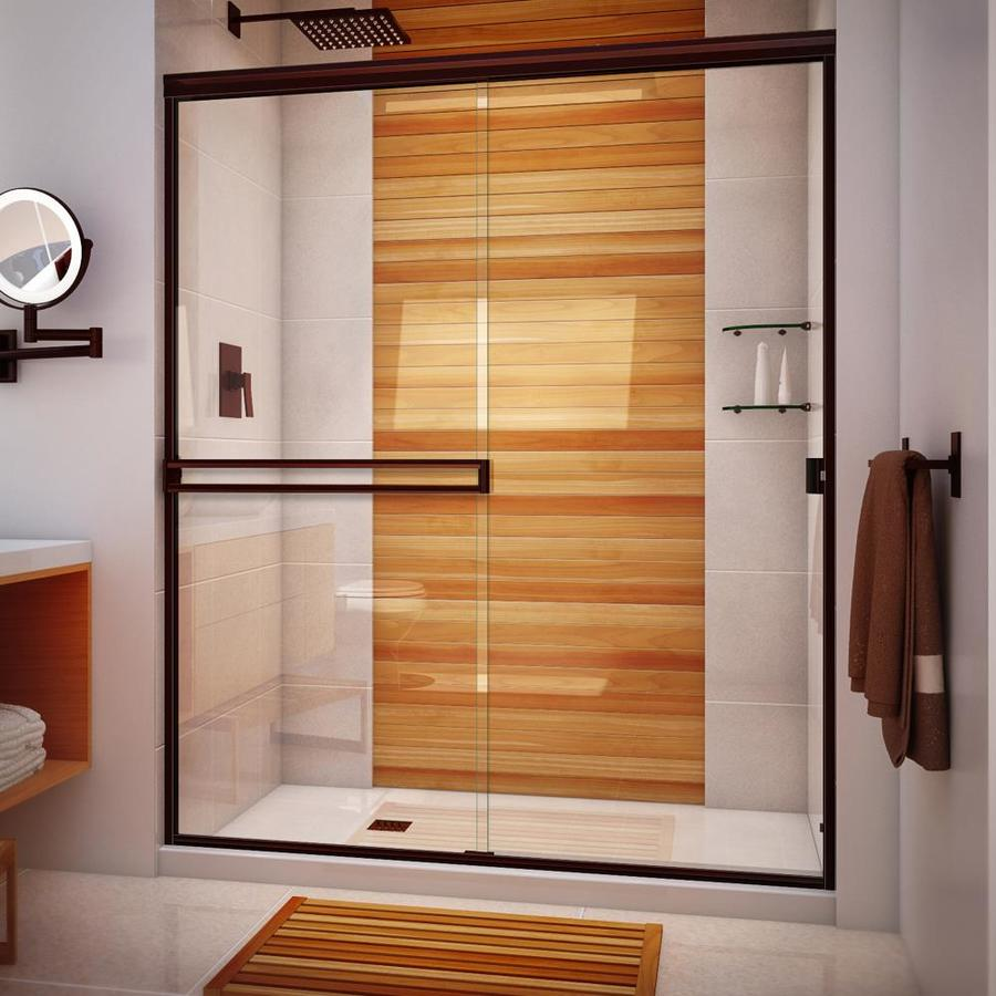 Arizona Shower Door Traditional 62-in to 66-in W Semi-frameless Oil-Rubbed Bronze Sliding Shower Door