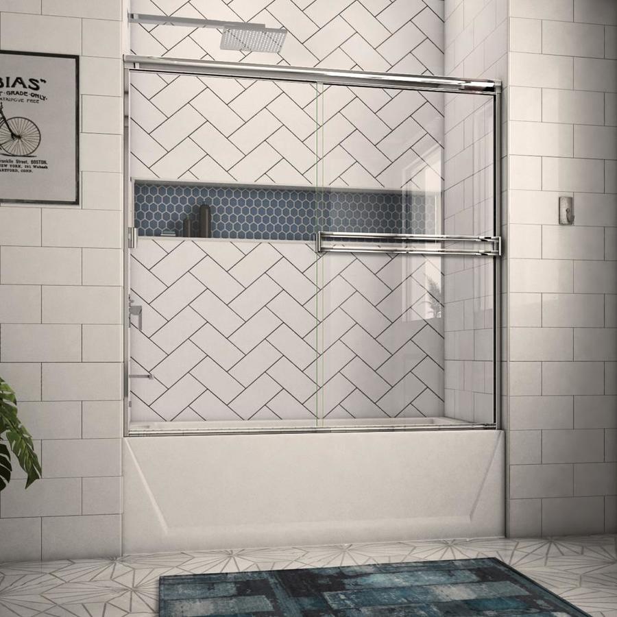 Arizona Shower Door Traditional 52-in to 56-in Frameless Chrome Sliding Shower Door