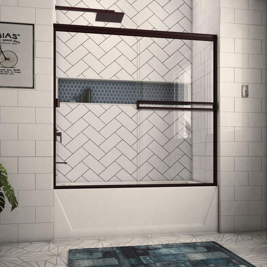 Arizona Shower Door Traditional 52-in to 56-in W Semi-frameless Oil-Rubbed Bronze Sliding Shower Door