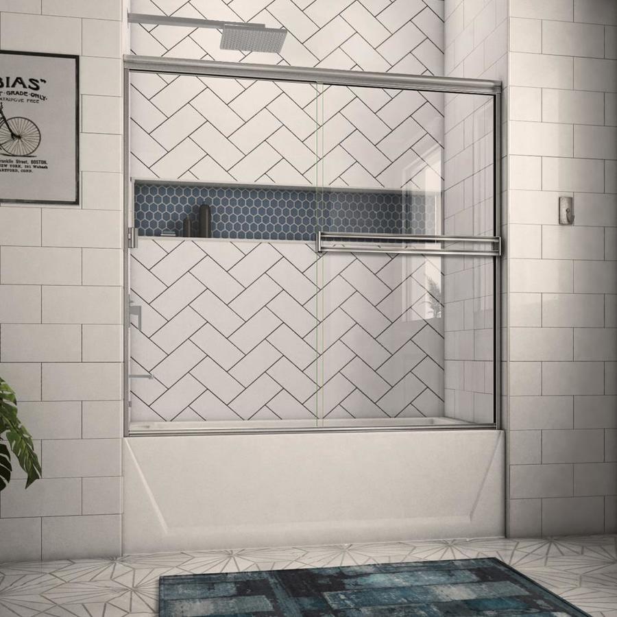Arizona Shower Door Traditional 54-in to 58-in W Frameless Brushed Nickel Sliding Shower Door