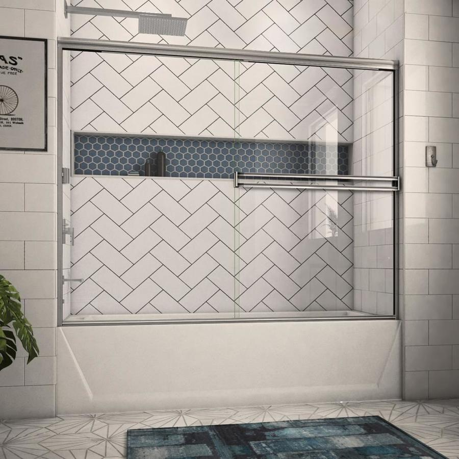 Arizona Shower Door Traditional 68-in to 72-in W Frameless Brushed Nickel Sliding Shower Door