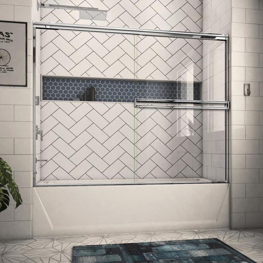 Arizona Shower Door Traditional 68-in to 72-in Frameless Chrome Sliding Shower Door