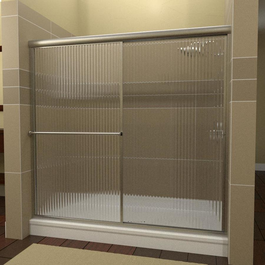 Arizona Shower Door Standard 44-in to 48-in Framed Brushed Nickel Sliding Shower Door