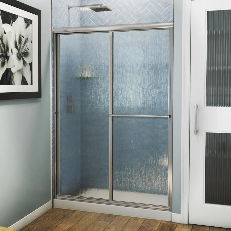 Arizona Shower Door Standard 54-in to 58-in W Framed Brushed Nickel Sliding Shower Door