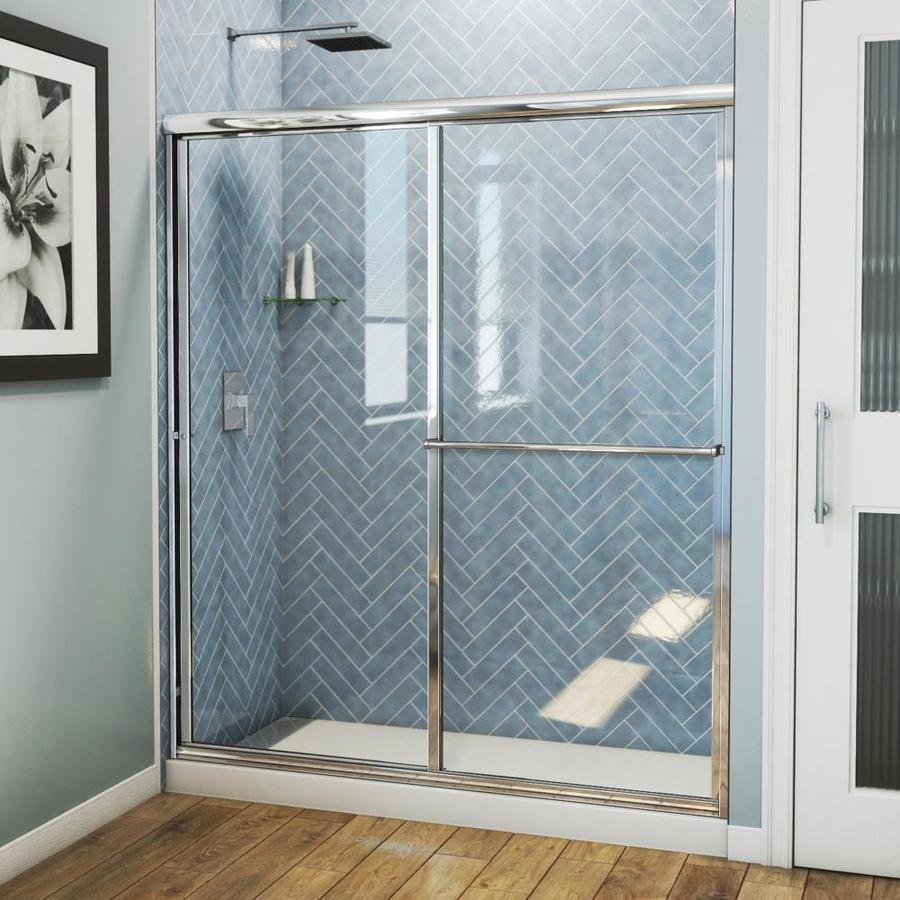 Arizona Shower Door Standard 56-in to 60-in Framed Brite Dipped Chrome Sliding Shower Door