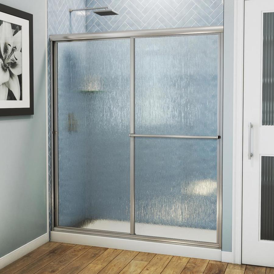 Arizona Shower Door Standard 56-in to 60-in Framed Brushed Nickel Sliding Shower Door
