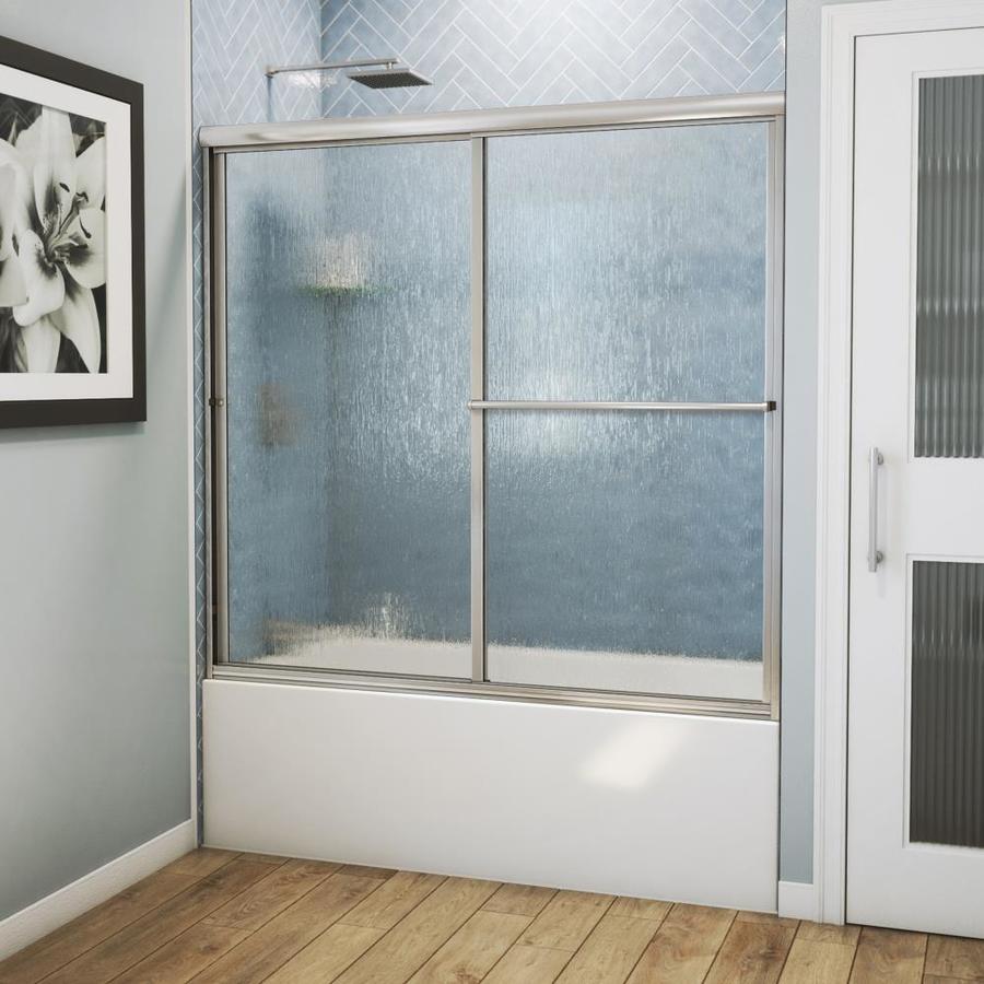 Arizona Shower Door Standard 52-in to 56-in W Framed Brushed Nickel Sliding Shower Door