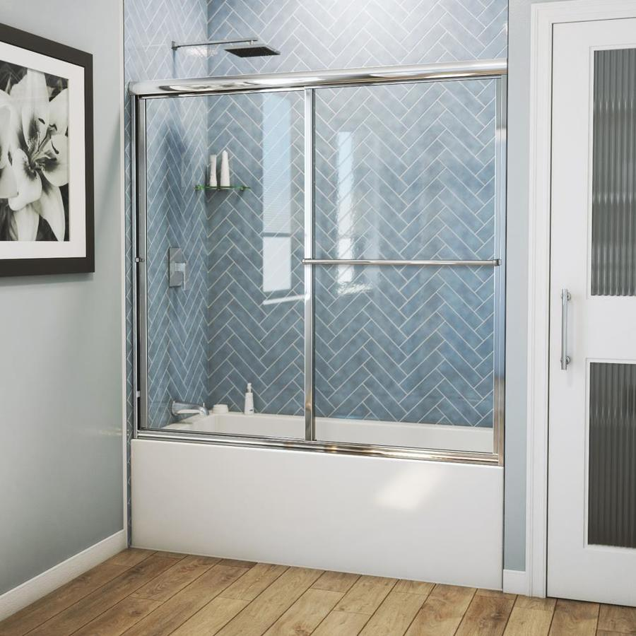 Arizona Shower Door Standard 54-in to 58-in W Framed Brite Dipped Chrome Sliding Shower Door