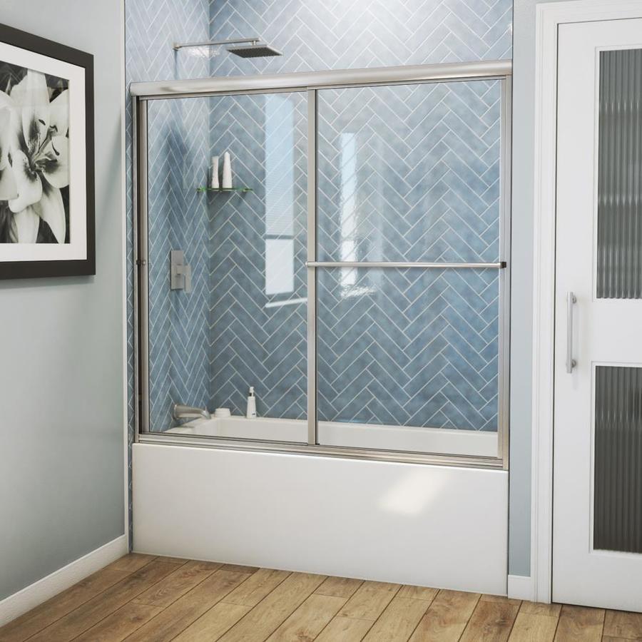 Arizona Shower Door Standard 54-in to 58-in Framed Brushed Nickel Sliding Shower Door