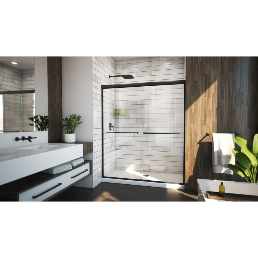 Arizona Shower Door Lite Euro Recessed 70 375 In H X 56 In To 60 In W Semi Frameless Bypass Sliding Matte Black Shower Door Clear Glass In The Shower Doors Department At Lowes Com