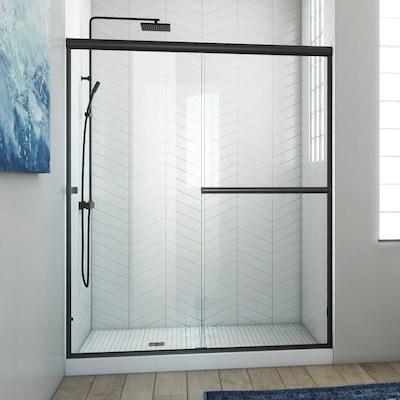 Lite Euro 56 In To 60 W Semi Frameless Byp Sliding Matte Black Shower Door