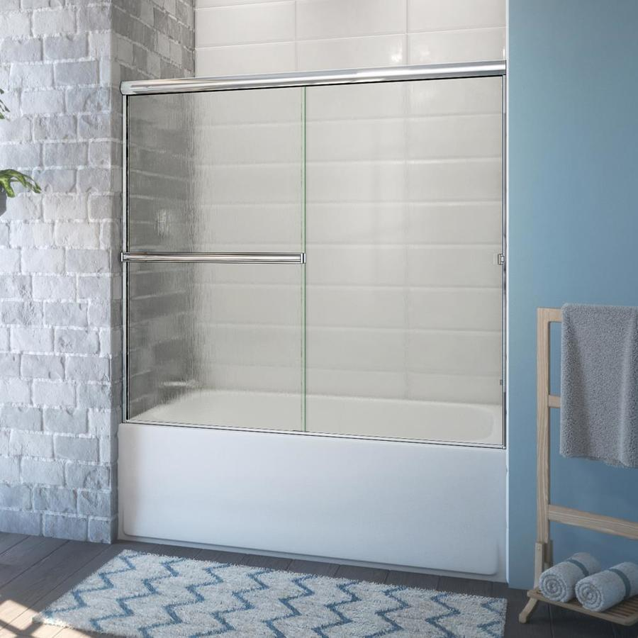 Arizona Shower Door Lite Euro 55 375 In H X 52 In To 56 In W Semi Frameless Sliding Polished Chrome Bathtub Door Patterned Glass In The Shower Doors Department At Lowes Com