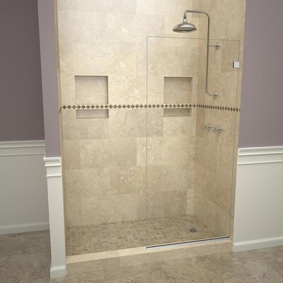 46 In To 72 W Semi Frameless Fixed Polished Chrome Shower Door