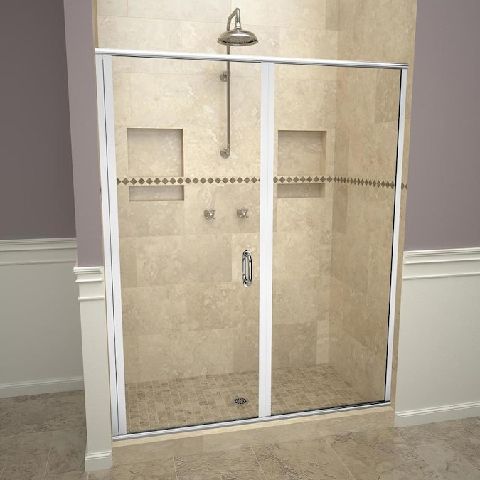 Redi Swing 72 125 In H X 58 In To 59 In W Semi Frameless Hinged Polished Chrome Shower Door Clear Glass In The Shower Doors Department At Lowes Com
