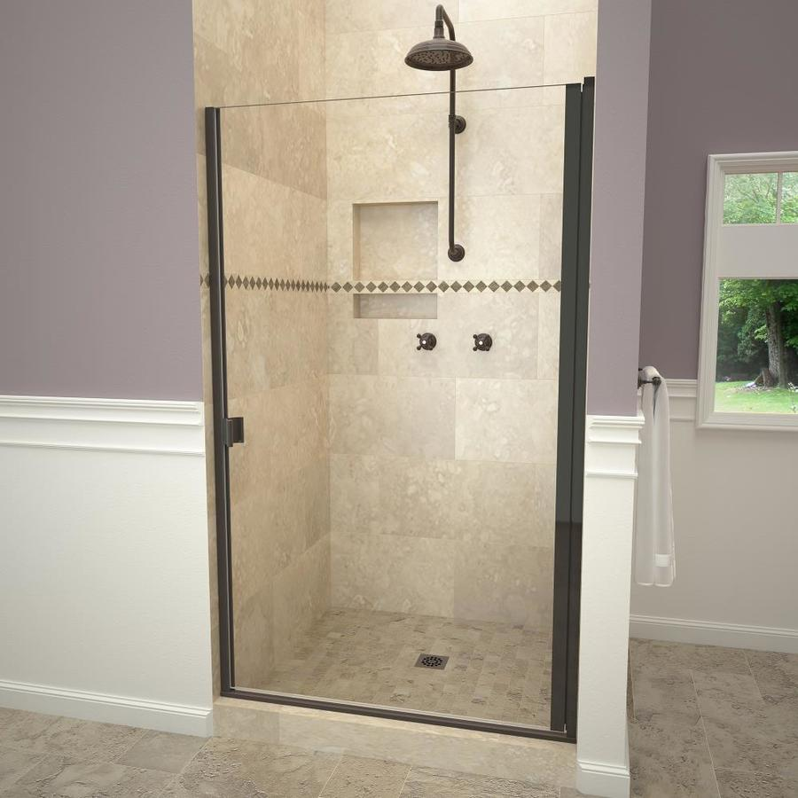 Redi Swing 65 0625 In H X 28 0625 In To 28 9375 In W Semi Frameless Hinged Oil Rubbed Bronze Shower Door Clear Glass In The Shower Doors Department At Lowes Com