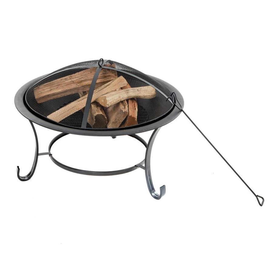 Sun Joe 30-in W Black Steel Wood-Burning Fire Pit