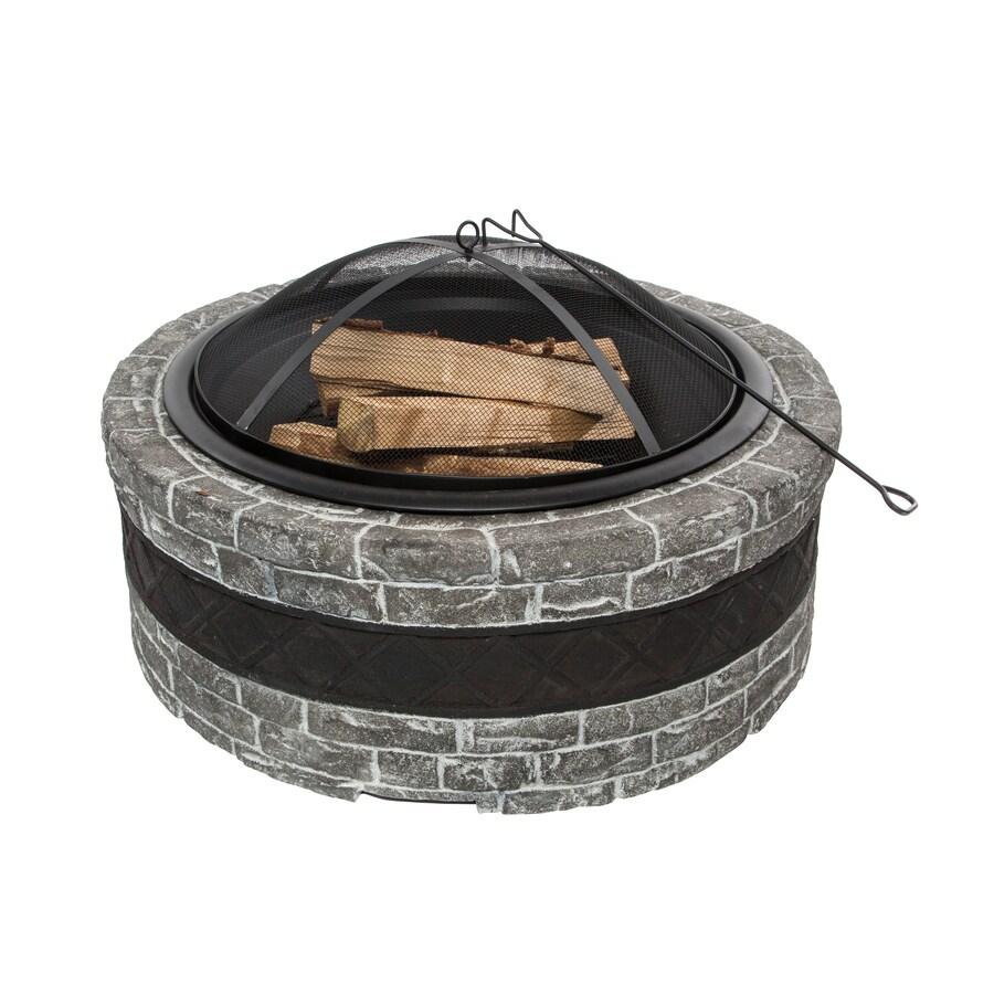 Sun Joe 35-in W Gray Stone Wood-Burning Fire Pit