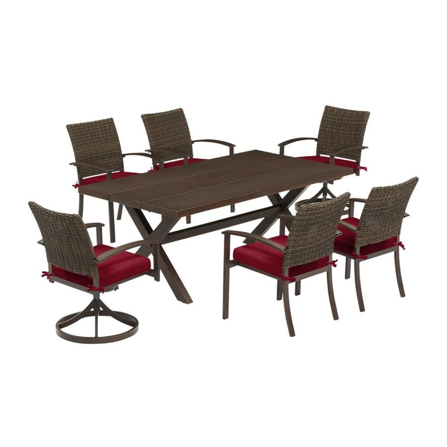 Charmant Allen + Roth Atworth 7 Piece Brown Metal Frame Patio Set With Red Cushions