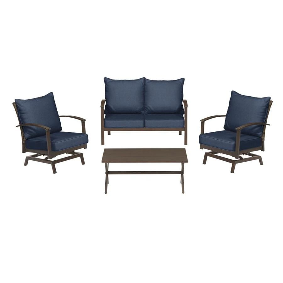 Atworth 4 Piece Aluminum Frame Patio Conversation Set With Navy Cushions
