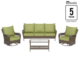Allen + Roth Glenlee 4 Piece Wicker Patio Conversation Set