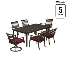 Gatewood 7 Piece Brown Metal Frame Patio Dining Set With Sunbrella Cushions