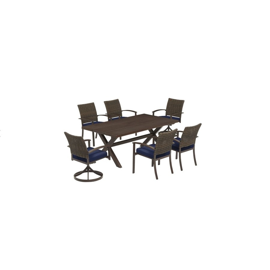 Gatewood 7 Piece Brown Metal Frame Patio Dining Set With Canvas Navy  Sunbrella Cushions