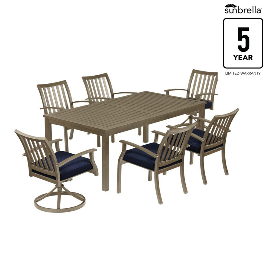 Gatewood 7 Piece Brown Metal Frame Patio Set With Canvas Navy Sunbrella Cushions At Lowes