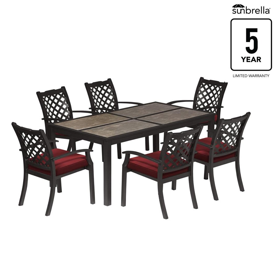 Carrinbridge 7 Piece Black Metal Frame Patio Set With Canvas Chili Sunbrella Cushions At Lowes