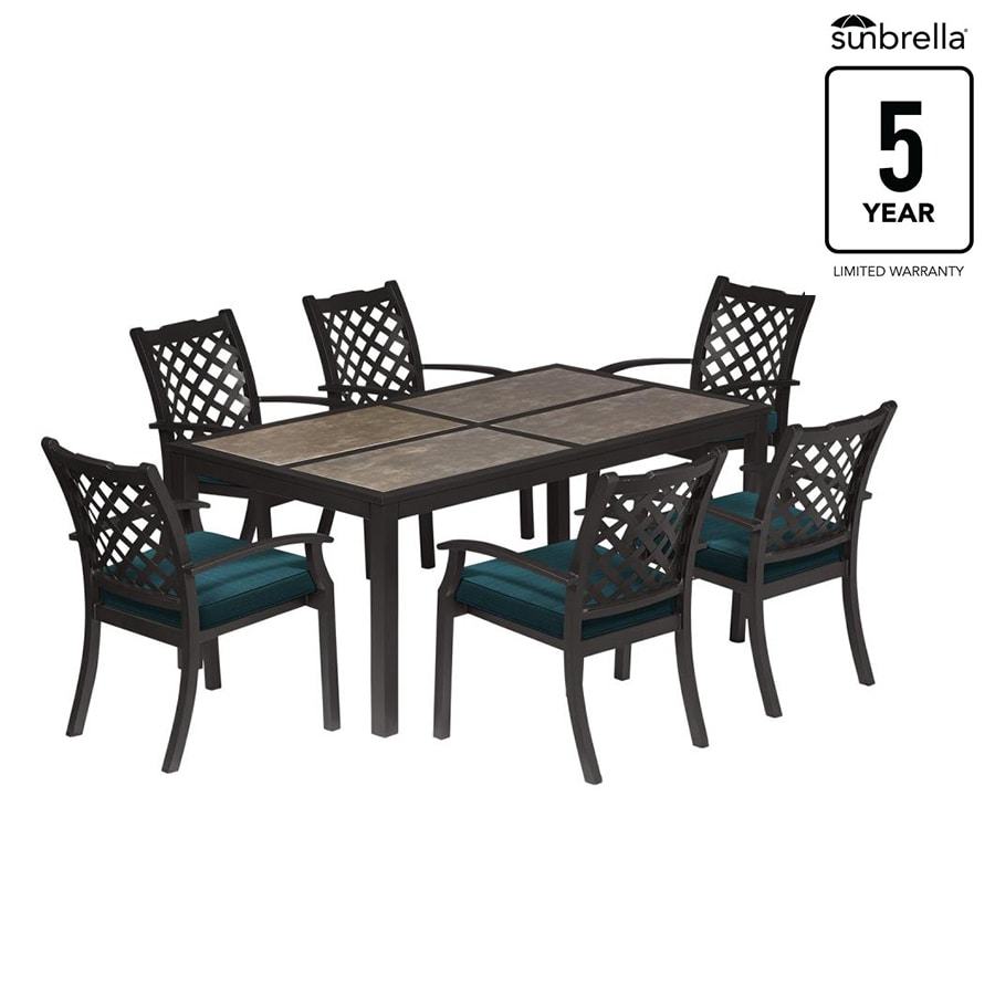 Carrinbridge 7 Piece Black Metal Frame Patio Set With Dupione Deep Sea  Sunbrella Cushions