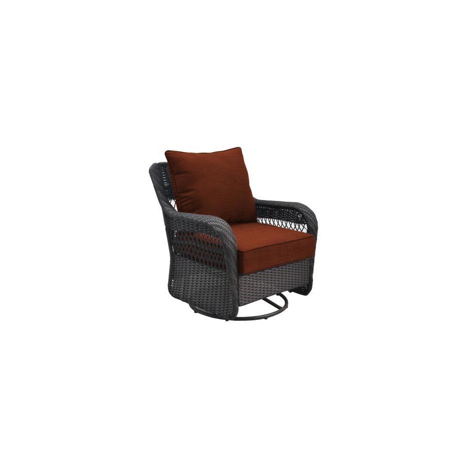Shop Allen Roth Glenlee Motion Patio Chair Brwn Wicker
