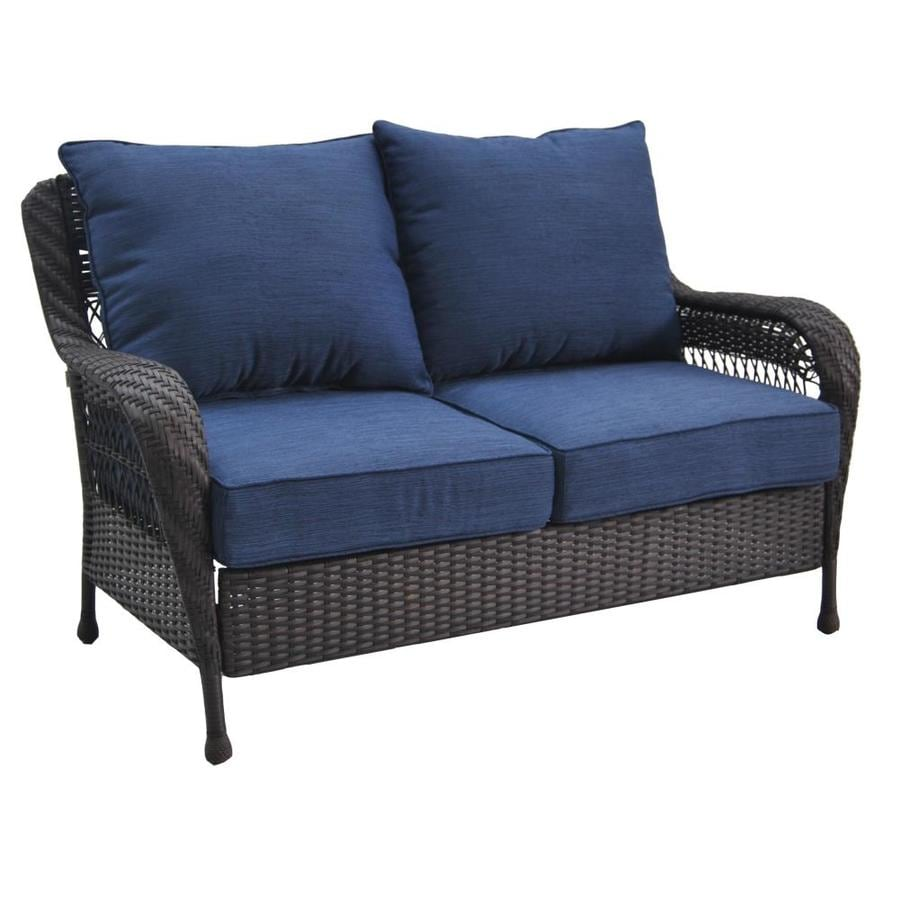 Glenlee Wicker Outdoor Loveseat With Solid Blue Cushion S