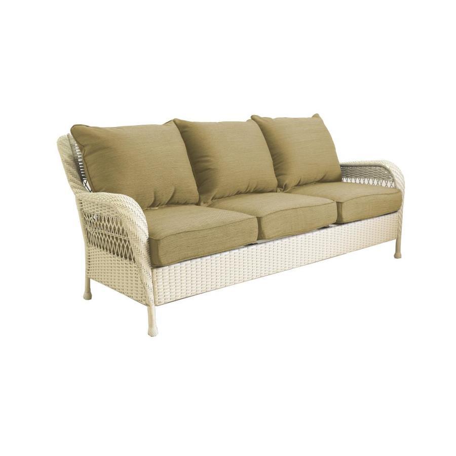 Allen Roth Glenlee Wicker Outdoor Sofa With Solid Tan