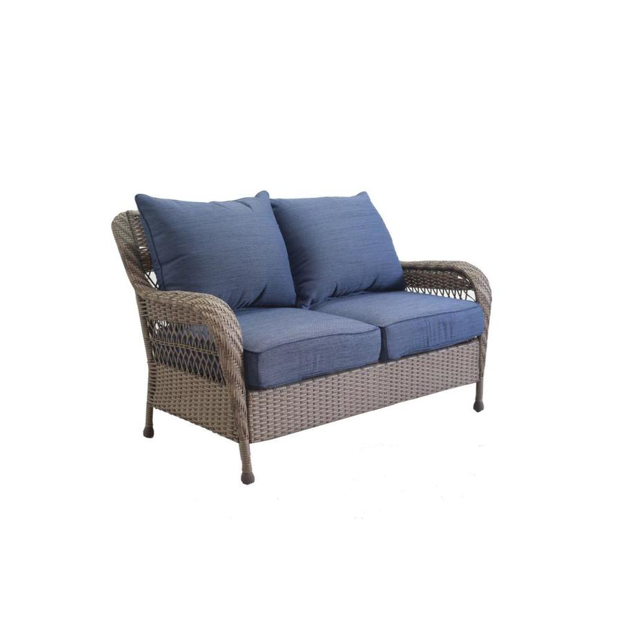 Allen Roth Glenlee Wicker Outdoor Loveseat With Solid