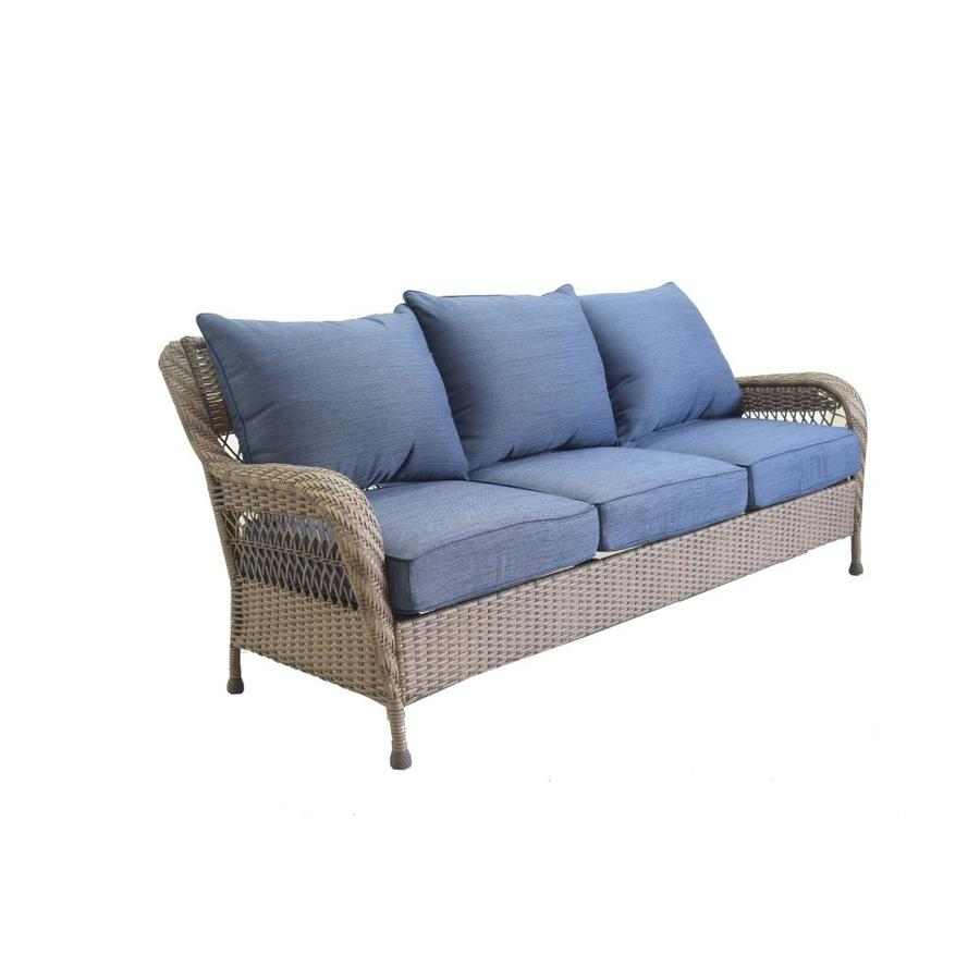 Allen Roth Glenlee Wicker Outdoor Sofa With Blue Cushion And Tan