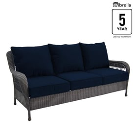 Allen + Roth Glenlee Wicker Outdoor Sofa With Solid Navy Cushion And Brown  Steel Frame