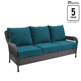 Allen + Roth Glenlee Wicker Outdoor Sofa With Solid Deep Sea Cushion And  Brown Steel Frame