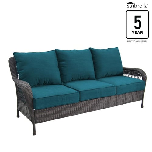 Glenlee Wicker Outdoor Sofa with Cushion and Steel Frame