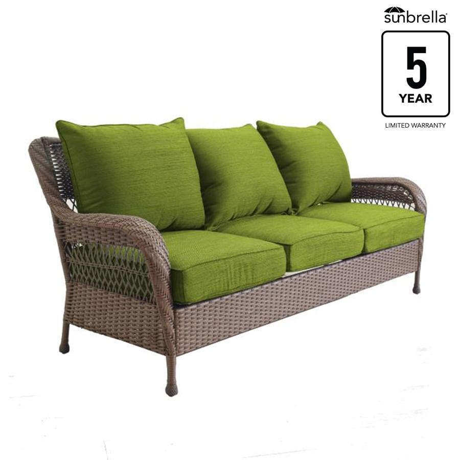 Allen Roth Glenlee Wicker Outdoor Sofa With Solid Green
