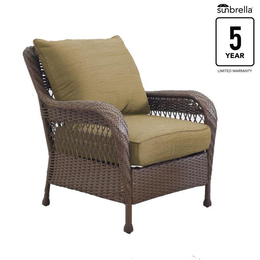 Allen Roth Glenlee Set Of 2 Wicker Steel Conversation Chairs With Sailcloth Sisal Sunbrella Woven Cushions