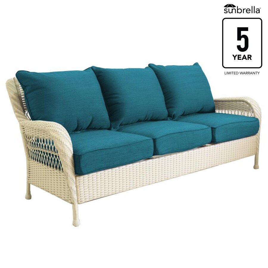 Allen Roth Glenlee Wicker Outdoor Sofa With Solid Deep Sea Cushion And White Steel Frame