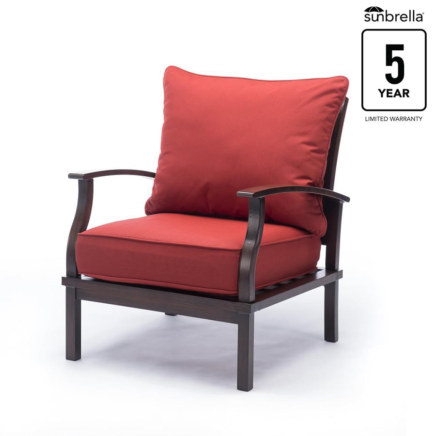 Allen + Roth Gatewood Set Of 2 Brown Patio Conversation Chairs With Canvas  Chili Cushions