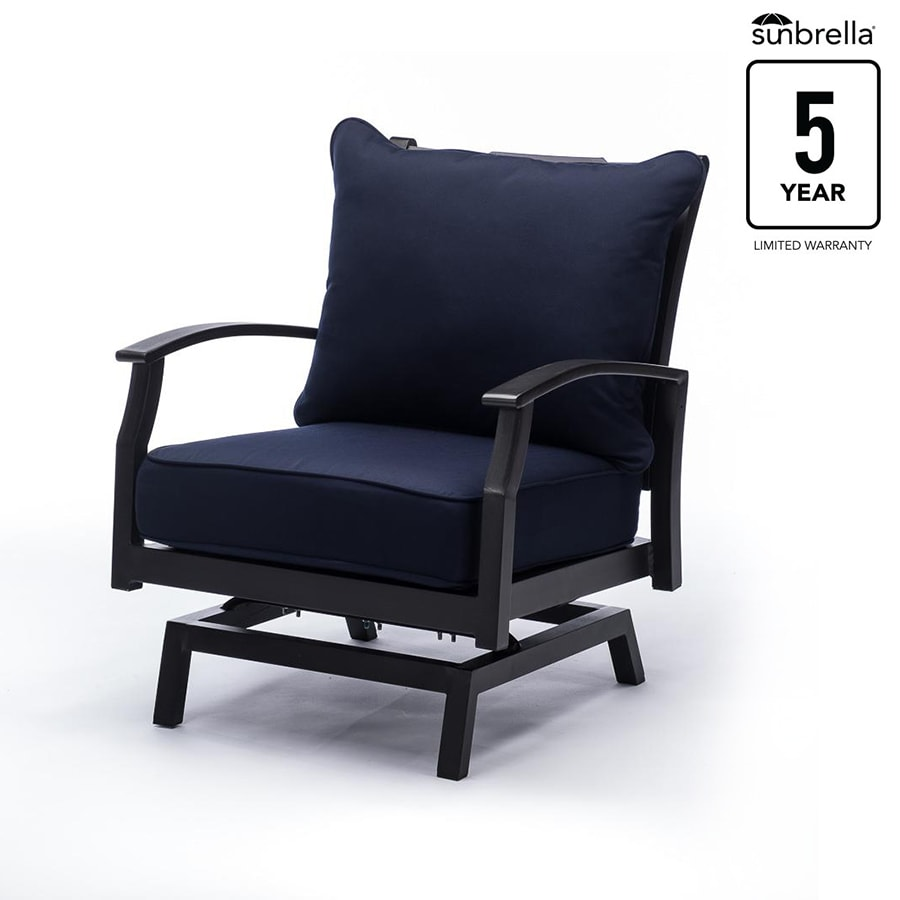 Allen + Roth Carrinbridge Set Of 2 Motion Patio Chairs With Canvas Navy  Cushions