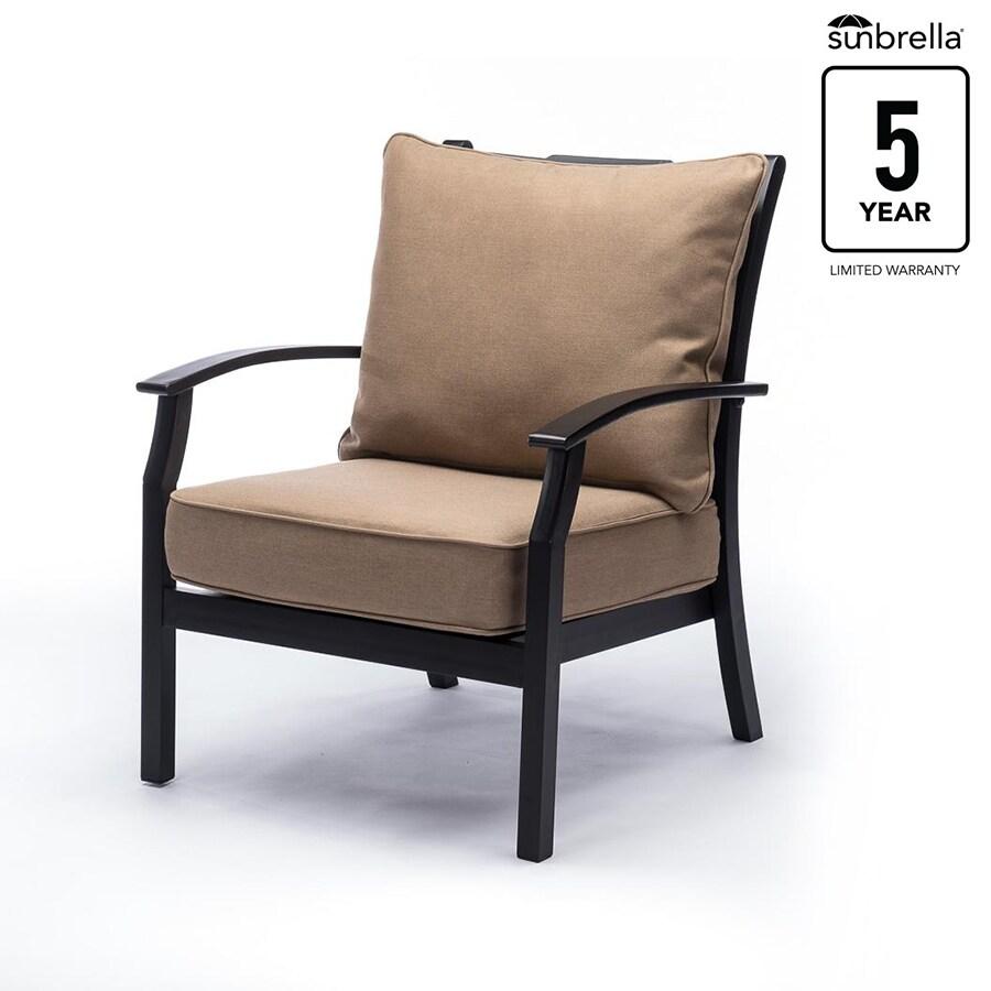 Allen Roth Carrinbridge Set Of 2 Aluminum Conversation Chairs With Sailcloth Sisal Sunbrella Cushions