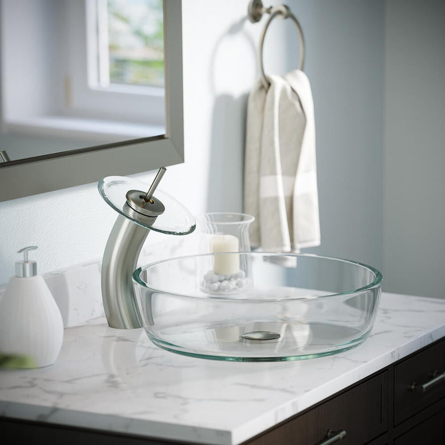 Round Waterfall Faucet Clear Glass Vessel Sink Bathroom Tap Basin Glass Disc US