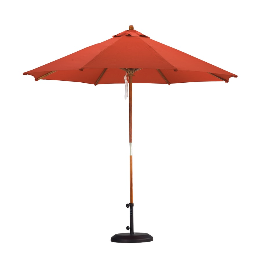 Lauren & Company Cranberry Red Market Patio Umbrella (Common: 9-ft W x 9-ft L; Actual: 9-ft W x 9-ft L)