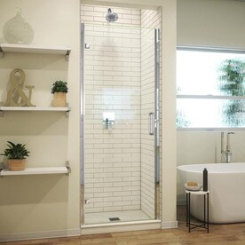 Coastal Shower Doors Paragon 66 In H X 32 In To 32 75 In W Framed Bifold Chrome Shower Door Frosted Glass In The Shower Doors Department At Lowes Com