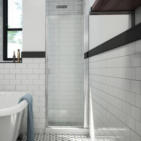 Coastal Shower Doors Paragon 82 In H X 24 In To 24 75 In W Framed Hinged Brushed Nickel Shower Door Clear Glass In The Shower Doors Department At Lowes Com