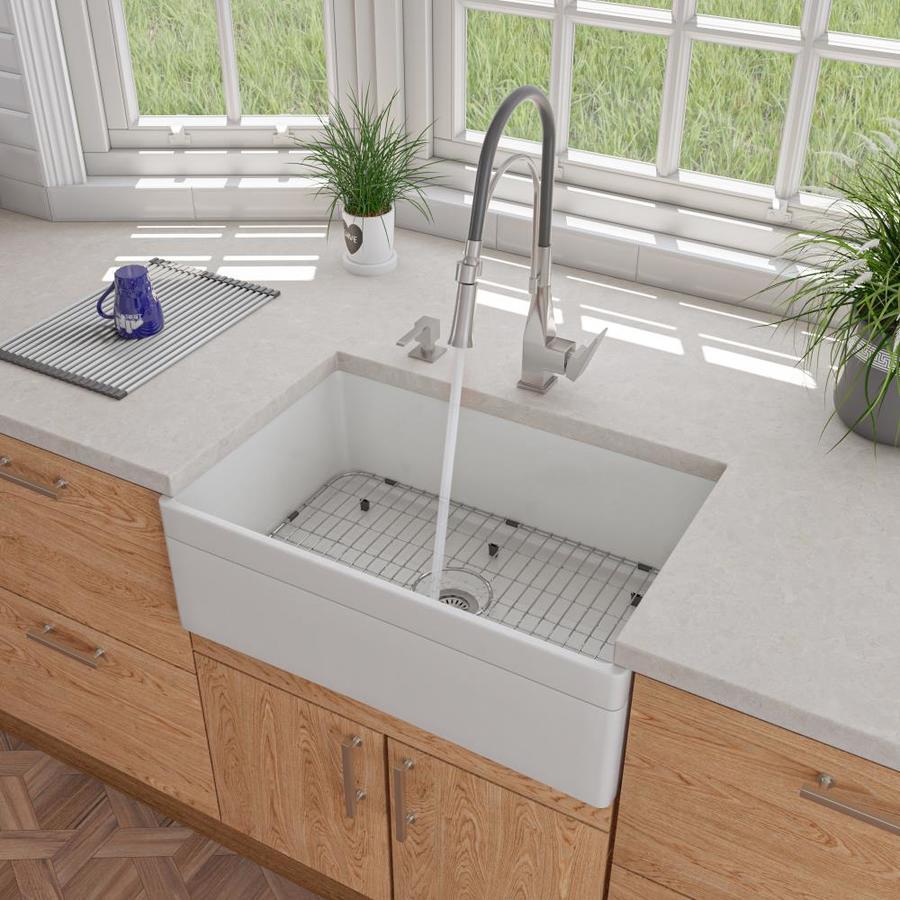 ALFI Brand 19.75-in X 29.88-in White Single-Basin Standard
